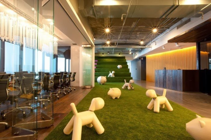 cesped artificial pasillos oficinas